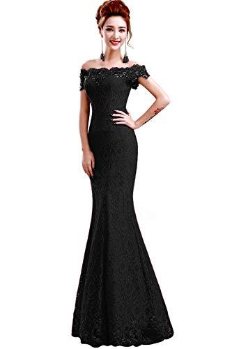 Misshow Русалка вечернее платье Розовое Кружевное длинное вечернее платье Элегантное с открытыми плечами без рукавов robe de Soiree - Цвет: Black