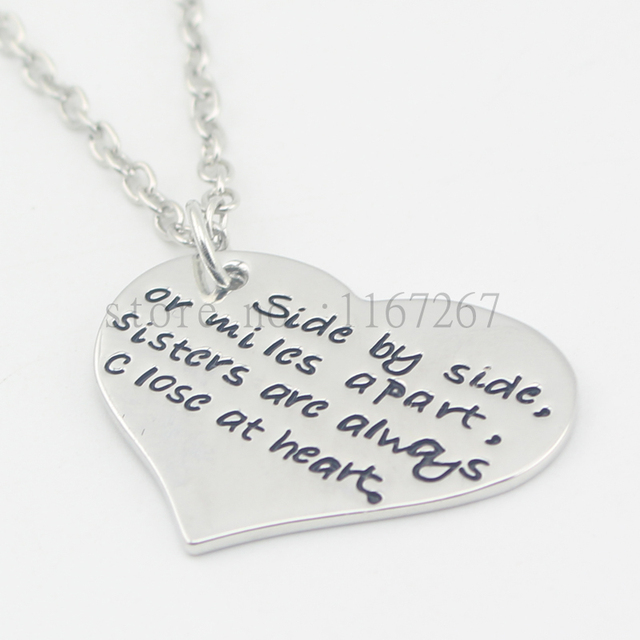 2016 New Side By Or Miles Apart Sisters Are Always Close At Heart Necklace Best Friends The We Choose