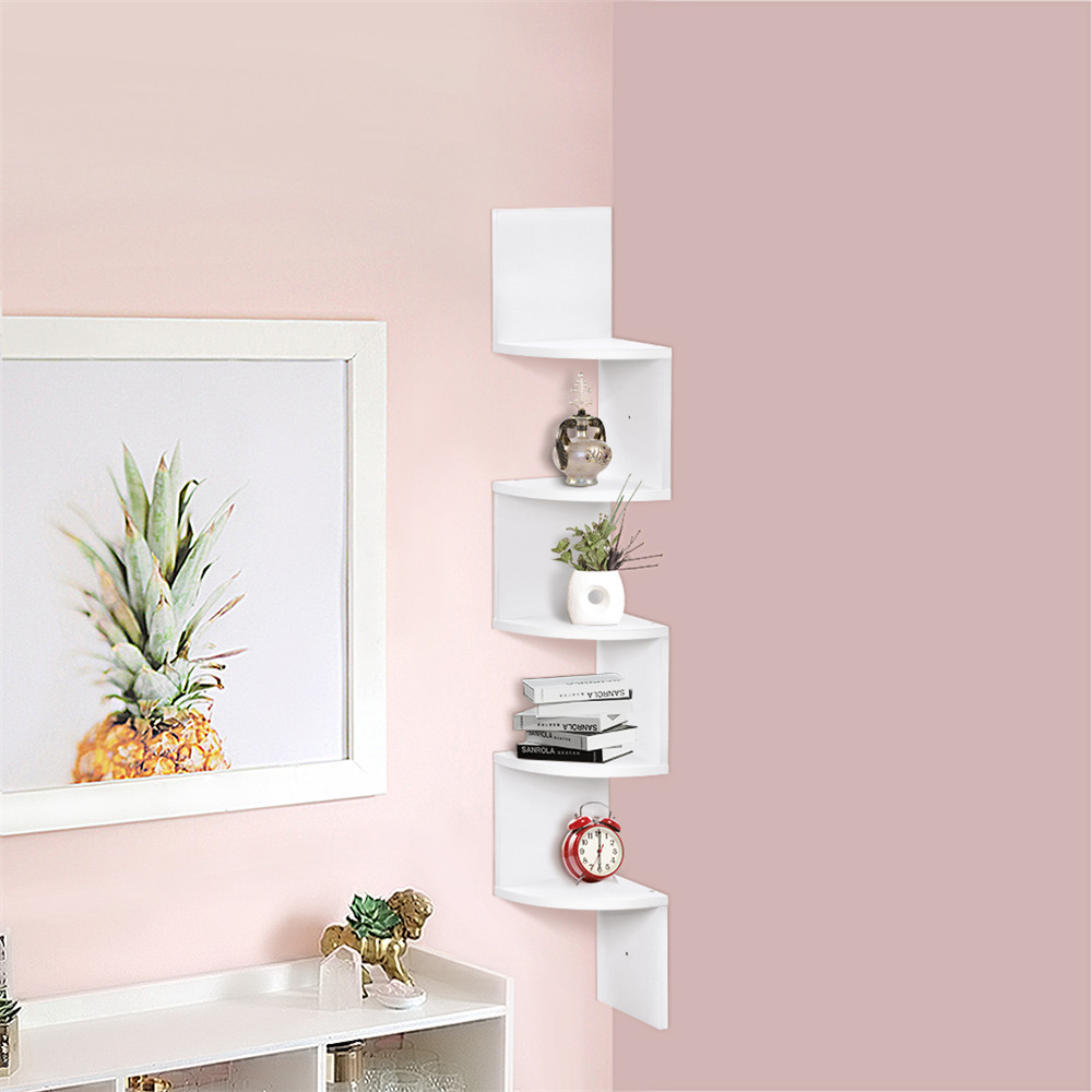 corner wall shelf finether 5 tier wall mounted shelving bookcase storage 11667