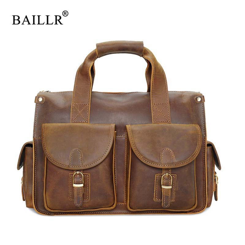 BAILLR Brand luxury design cowhide cross body bag High quality Fashion Tote for Men bag male Genuine Leather Business briefcase new brand esloth for ipad waterproof genuine leather bag high quality fashion multi use design 32cm 11cm 19cm female bag nb05