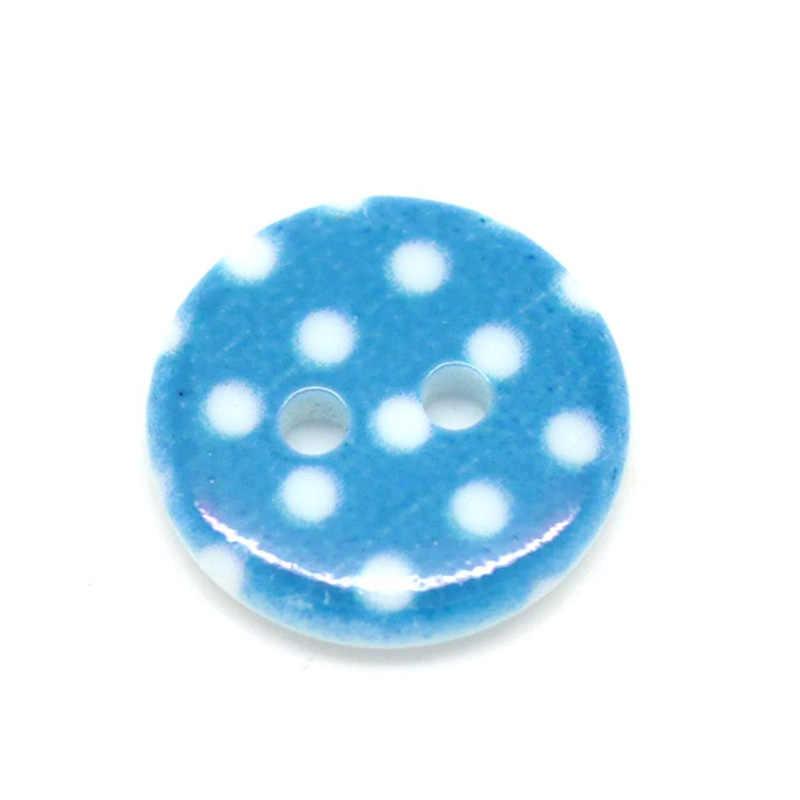 50 sztuk 2 otwory żywica niebieska kropka guziki dla dzieci ubrania Scrapbooking dekoracyjne Botones rękodzieło DIY akcesoria do szycia