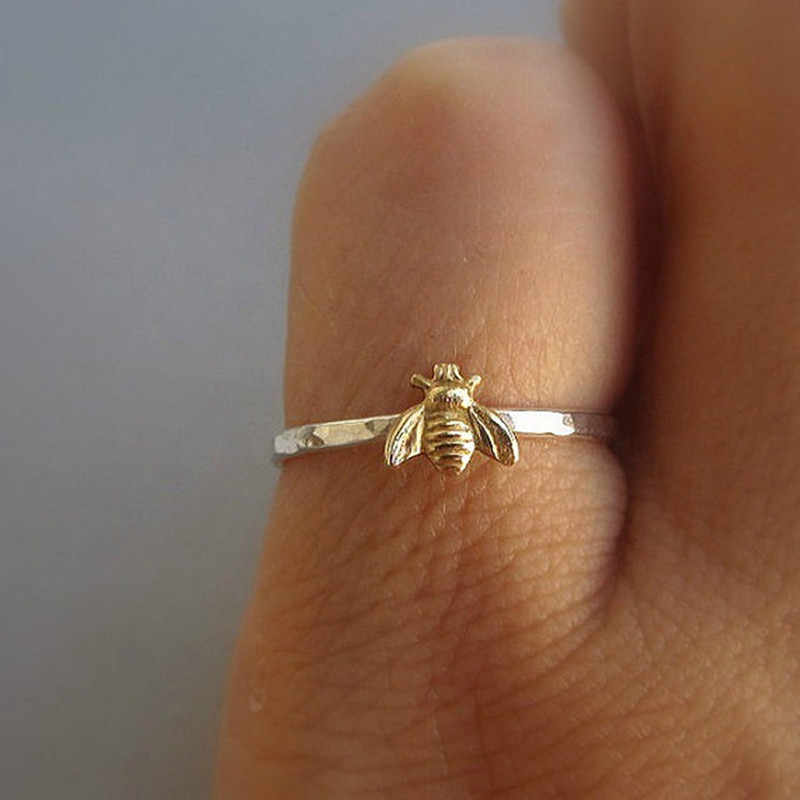 Luxury Yellow Zircon Animal Ring Vintage Gold Color Engagement Rings For Women Cute Bee Jewelry Wedding Bee Ring
