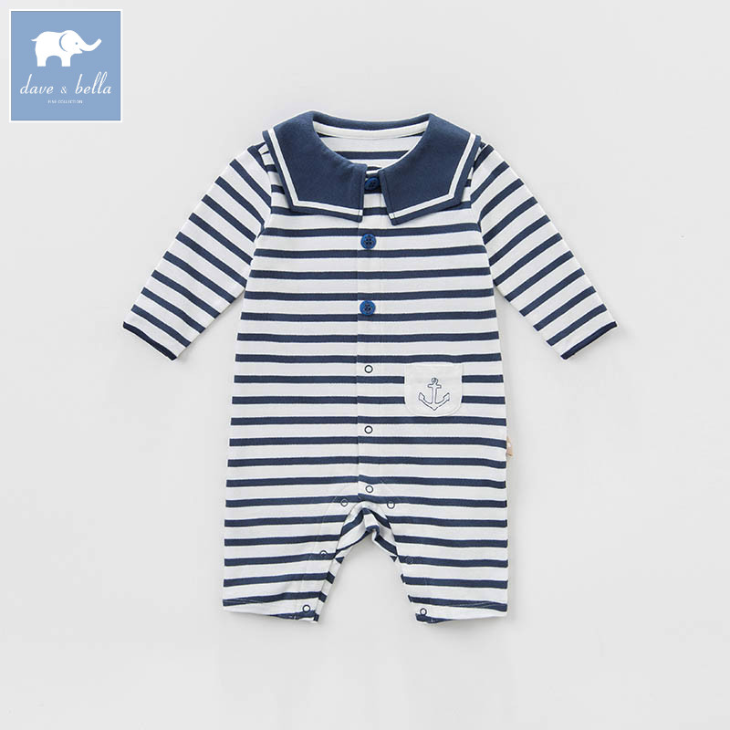 DB7683 dave bella spring new born baby boys cotton romper infant clothes children navy striped cute romper baby 1 piece dbm7508 dave bella summer baby girls new born cotton romper infant clothes cute children romper baby 1 piece