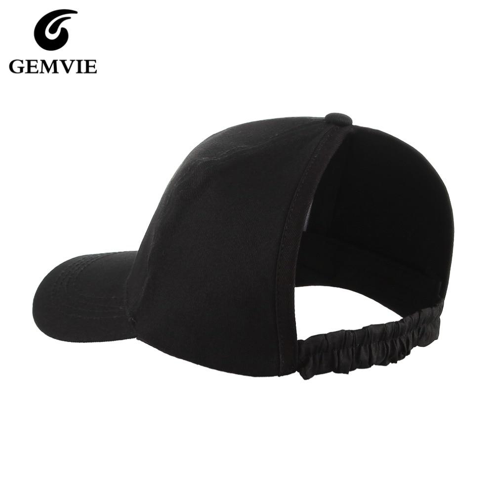 GEMVIE Backless Curly Hair Ponytail Messy Bun   Baseball     Cap   For Women Half Empty Top Snapback Plain Cotton Visor   Cap   Sun Hat
