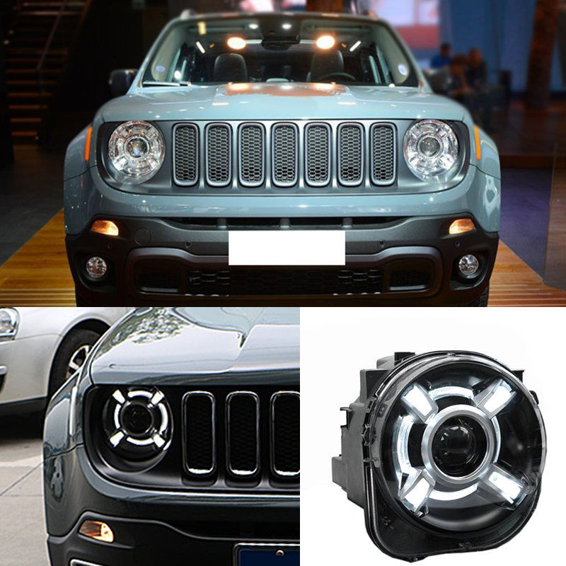 Pair 2015-2018 For Jeep Renegade HID Headlight with DRL and Bi-xenon Projector For Jeep Renegade BU HID H4 Head Lamp Headlights union car styling for renegade headlights for renegade hid head lamp angel eye led drl front light for jeep renegade hid lamp