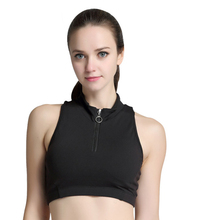 Sports Top Female Fitness Crop Tank Tops Small Collar Vest With Zipper Workout Running Yoga Clothes Women Sportswear