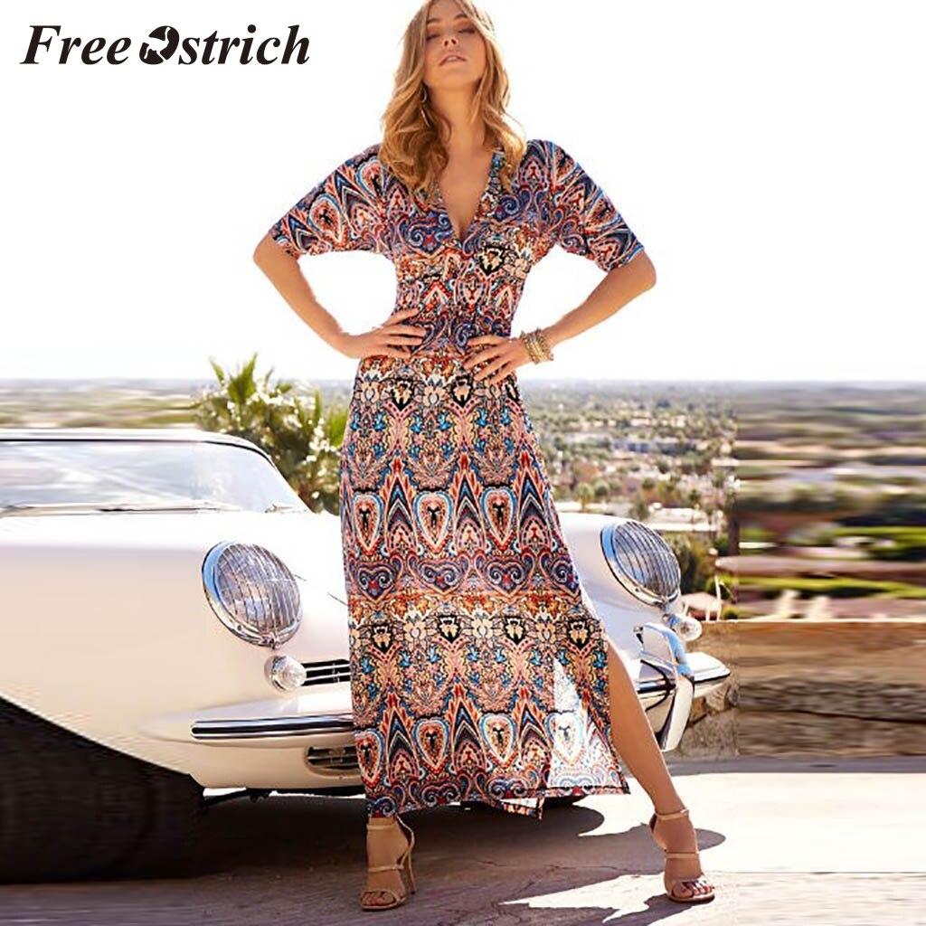 Free Ostrich 2020 Casual Womens Summer Casual High Waist Bohemia Print V Neck National Style Long Dress Short Sleeve Lightweight