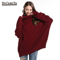 HCYO Women Turtleneck Sweater Pullover Women Loose Casual Knitted Womens Sweaters And Pullovers Jumper Tunic Sweater Tops Womens