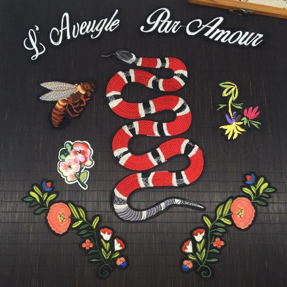 Bee Snake Flower Applique Patches Vintage Embroidered Badge Fabric Patch Fashion Clothing ...