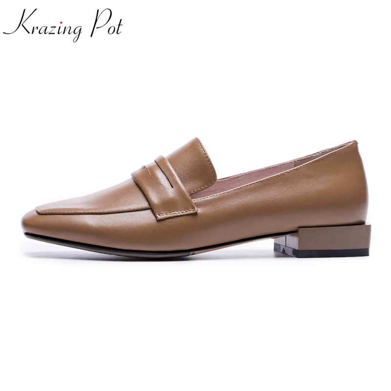 Krazing topf full grain leder gladiator mode schuhe frauen low heels frauen plus größe fahr feste farbe schwangere schuhe L75-in Damenpumps aus Schuhe bei  Gruppe 1