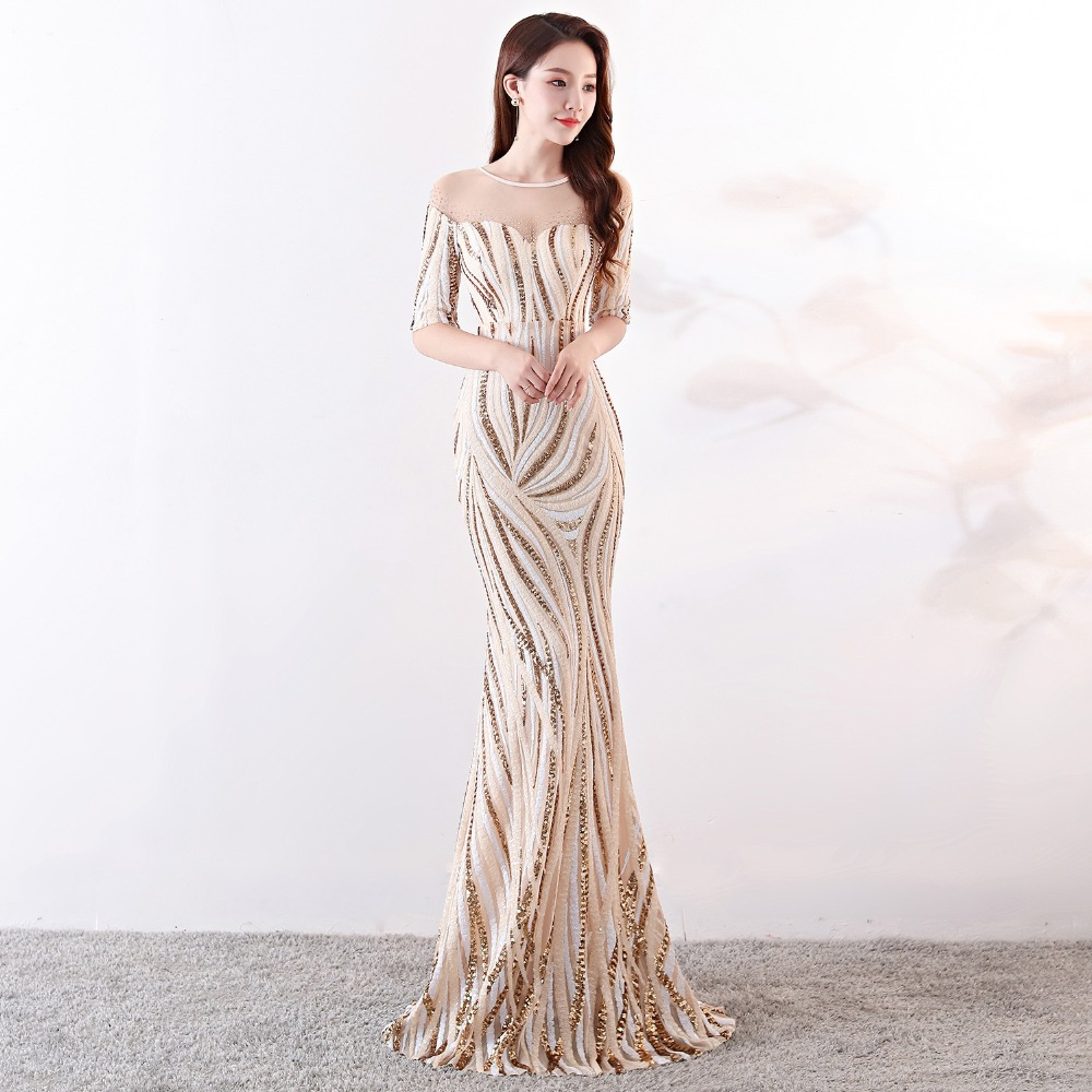 Elegant Crystal Beaded See Through Voile Shor Sleeve Mermaid Long Formal Dresses For Women 2018 Sexy Nightclub Wear Party Dress (11)