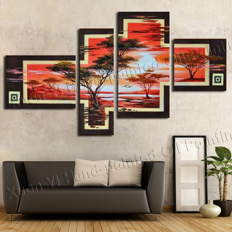 4 Panel Hand Painted Canvas Cloud Forest African Art Wall Tree Picture Modern Home Decoration Landscape Oil Painting On Canvas