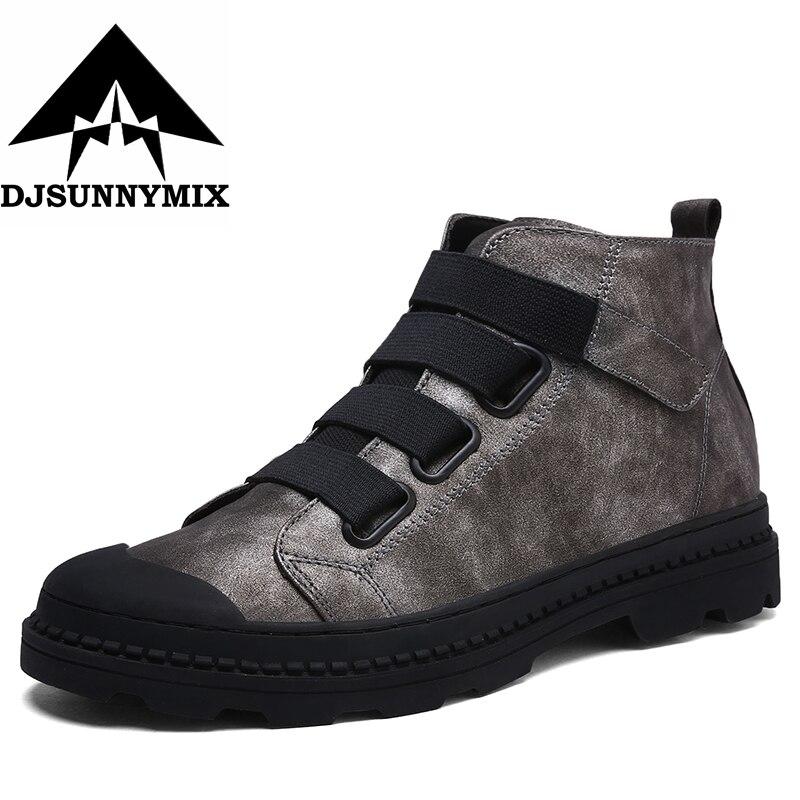 Djsunnymix estilo británico vintage Martin Botas hombres microfibra Botas impermeable Otoño Invierno Botines hombres Zapatos negro