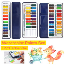 12/18/24 Colors Portabel Waterolor Cat Polos Cerah Warna Luar Ruangan Cat Air Lukisan Persediaan Pigmen Set untuk Seni persediaan(China)