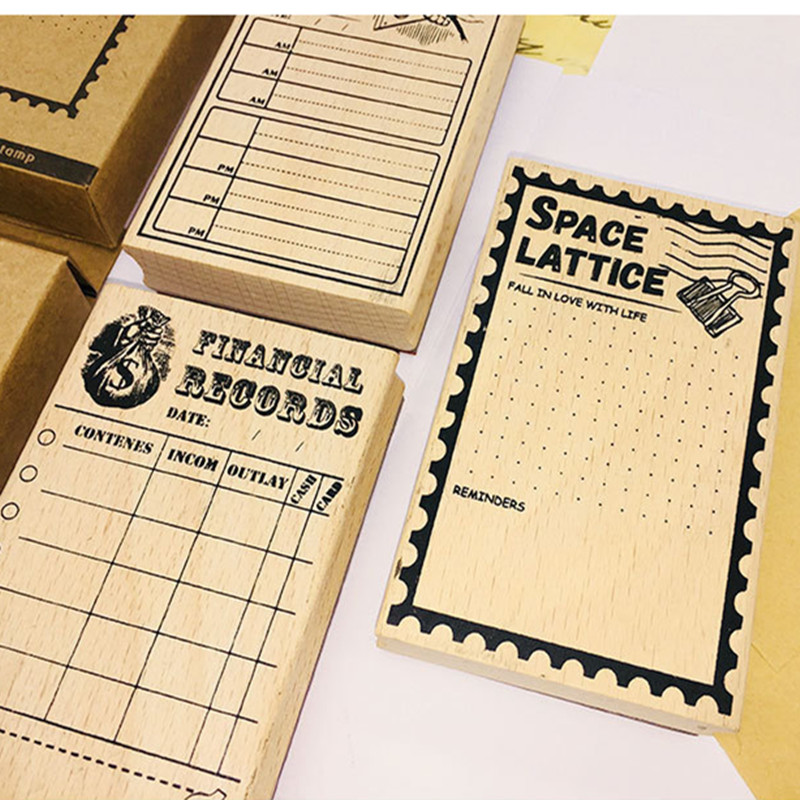 Plan retro seal Wooden stamps date planning rubber wood