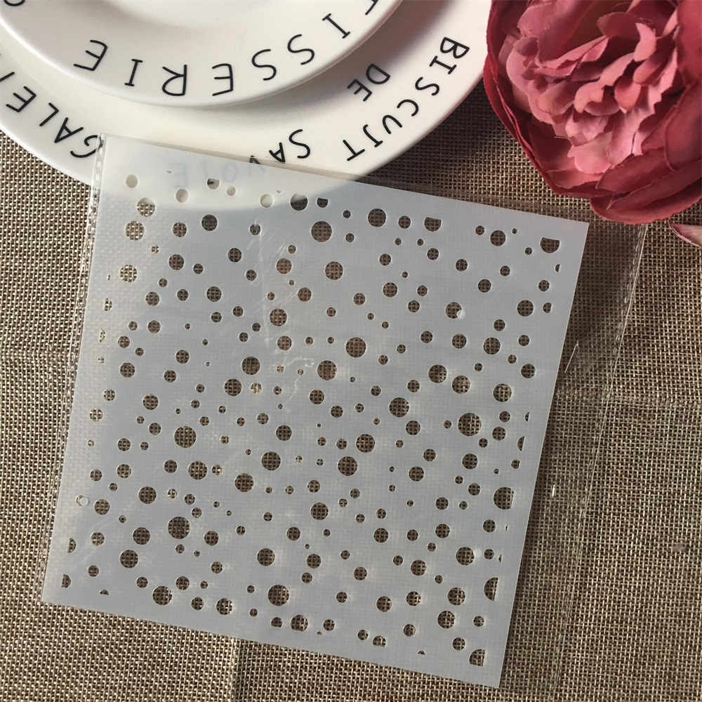 1Pcs 15cm Polka Dot DIY Layering Stencils Wall Painting Scrapbook Coloring Embossing Album Decorative Card Template