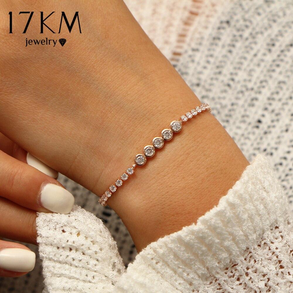 17KM New Fashion Crystal Round Tennis Bracelets For Women Wedding Charm Bracelet & Bangles Pulseras Mujer Statement Jewelry 2018