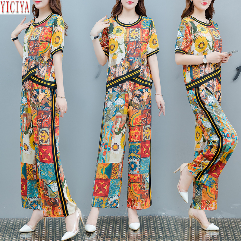 Designer Sets Tracksuits for Women Two Piece Outfits Co-ord Set Festival Clothing 2019 Summer Print Striped Top and Pant Suits
