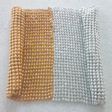 YY DIY Promotion! 11x11cm Gold Silver Beaded Metal Mesh Fabric Metallic cloth Sequin Sequined