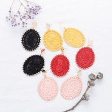 Cotton Woven Round Alloy Earrings for Women Red Black Yellow Pink Bohemian Big Drop Earring Female Fashion Jewelry Wholesale