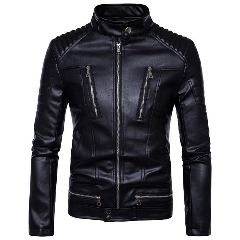 AOWOFS Jacket Classic Motorcycle British Coats Design Male Zippers Men