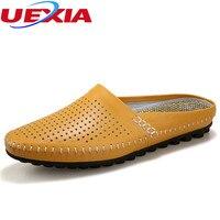 Lederen Loafers Mannen Schoenen Mode Zomer Ademend Flats Schoenen mannen Slipper Cool Comfortabele Slides Outdoor Toevallige Slippers