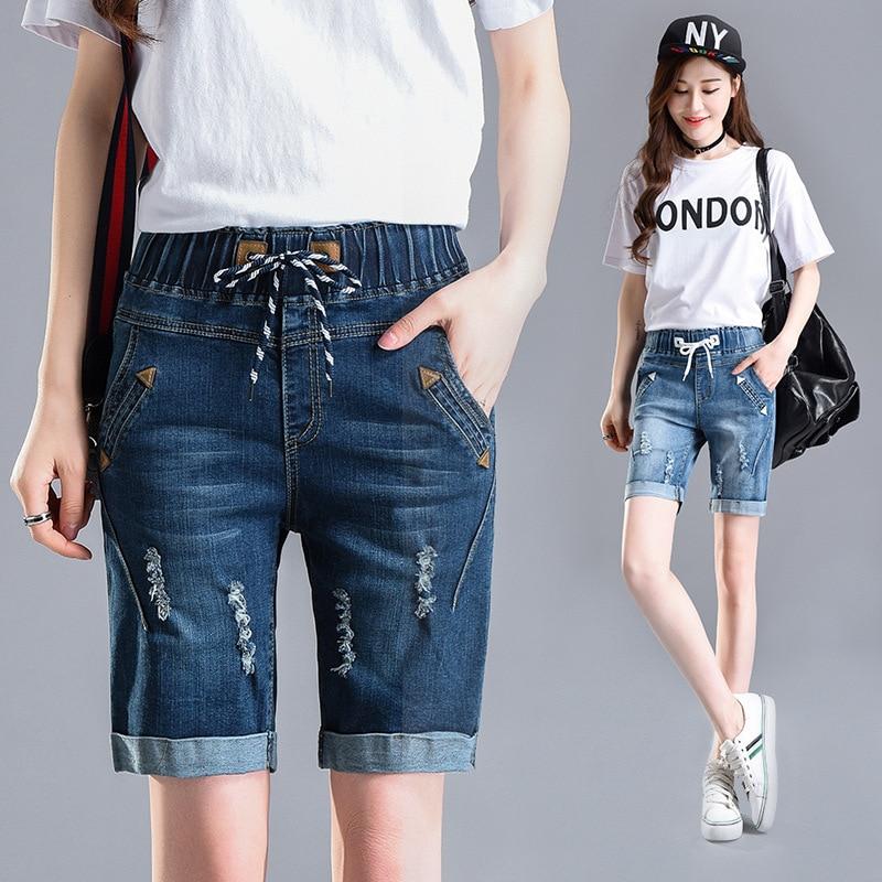 Summer   Shorts   for Women Elastic Waist High Waist   Shorts   Jeans Korean Style Summer Loose Casual Denim   Short   Pants Plus Size 26-40