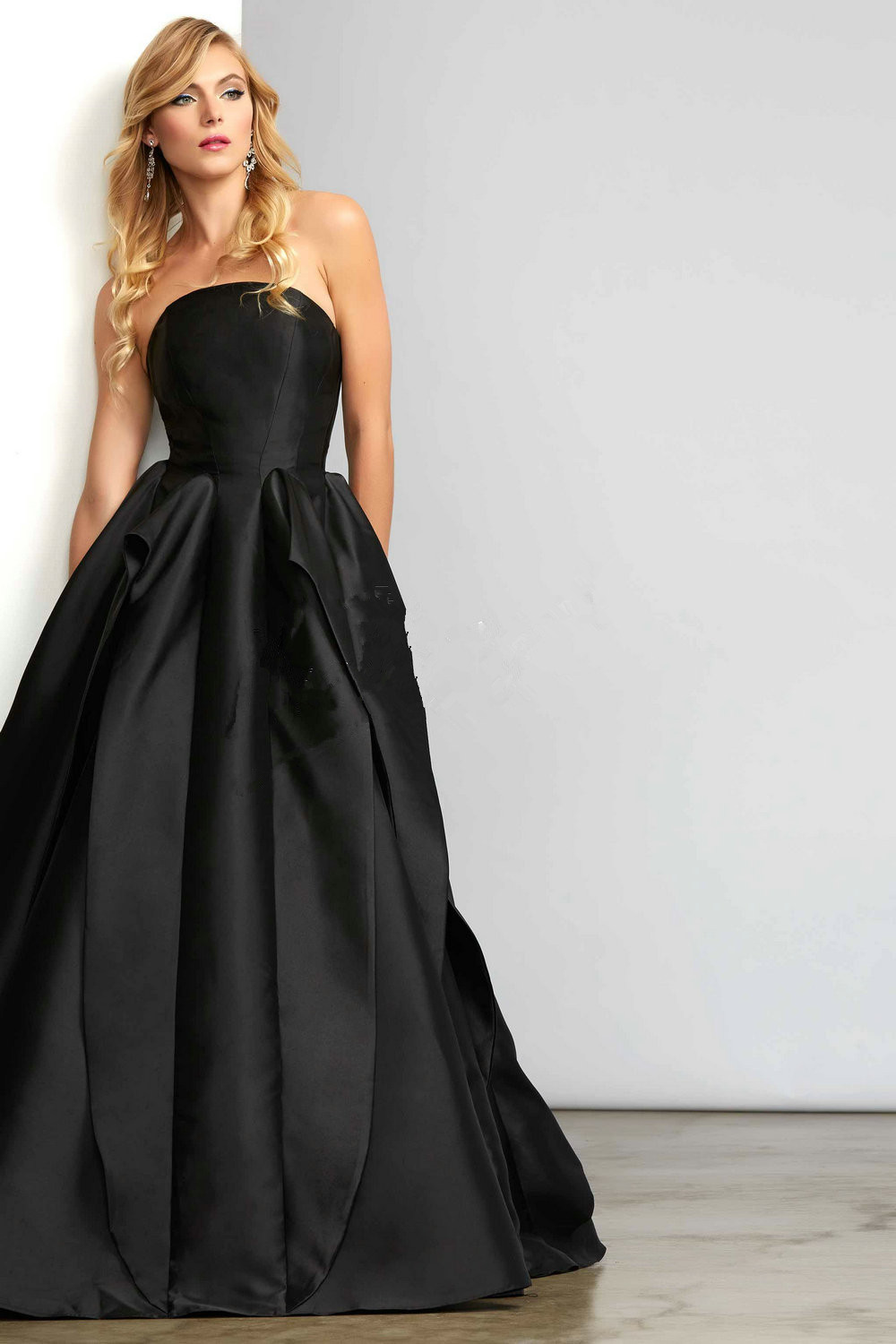 Aliexpress.com : Buy Long Black Ball Gown Evening Dresses Elegant ...