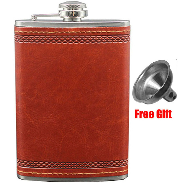 Russian Alcohol Flasks with Funnel 9 OZ Stainless Steel Hip Flask Outdoor Camping Whiskey PU Leather Pocket Flask for Alcohol
