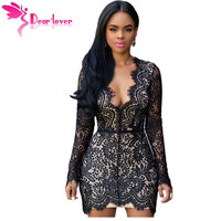 Dear Lover Women Autumn Black Lace Nude Open Black Mini Dress Long Sleeve Party Dresses Vetement