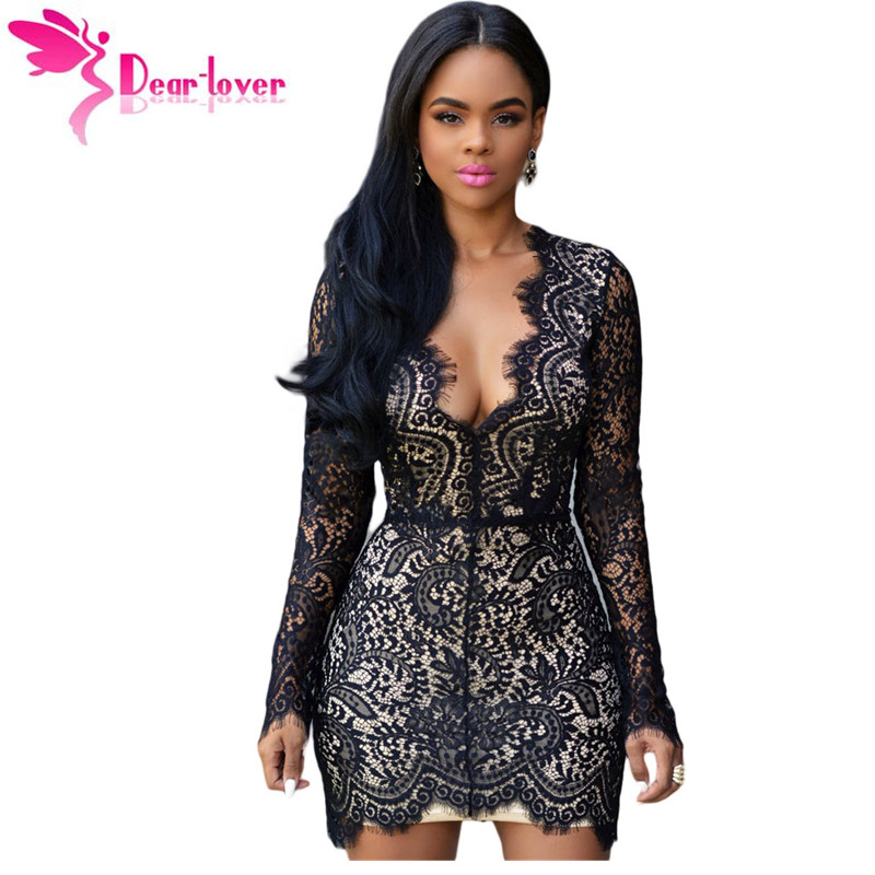 2bed6755d333 Dear Lover Women Autumn Black Lace Nude Open Black Mini Dress Long Sleeve  Party Dresses vetement