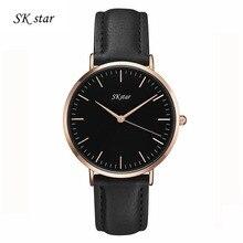 New Top Brand SKstar Men Women Watches Luxury Rose Gold Case Watch Quartz Watch Female Clock Relojes Masculino Mujer