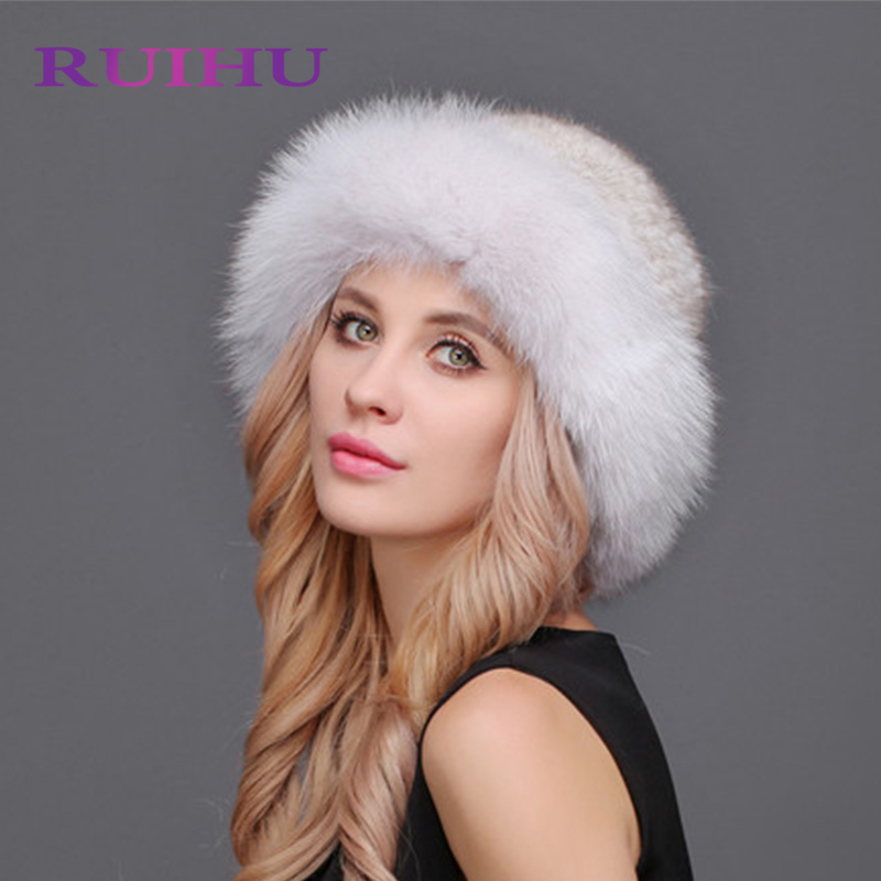 RUIHU Women Fox Hat Mink Fur Thick Cap Female Winter For Lady Lovely Casual Hats Genuine Real Fur Touca Inverno Gorros RHM649 winter mink hat for women genuine fox fur pompom hats for women winter cable knitted cap female real mink fur skullies