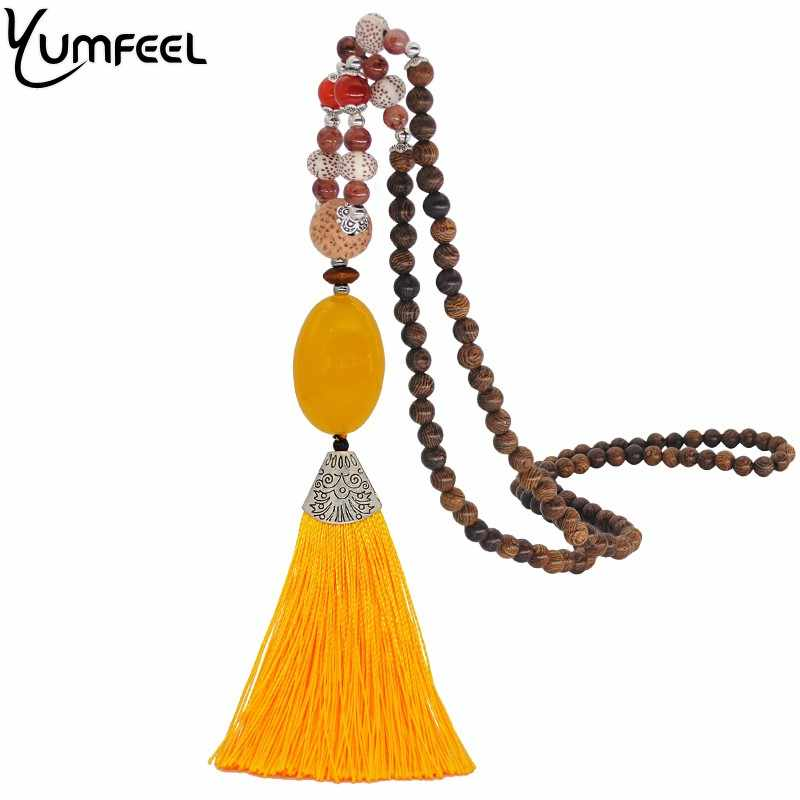 Yumfeel New Women Jewelry Necklace Handmade Wood Beads Natural Stone Yellow Tassel Necklace Gifts