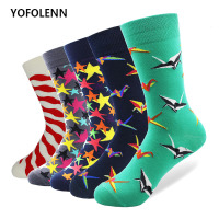 5 Pairs lot 2018 New Fashion Cotton Mens Socks Harajuku Stars Origami Pattern Long Tube Colorful