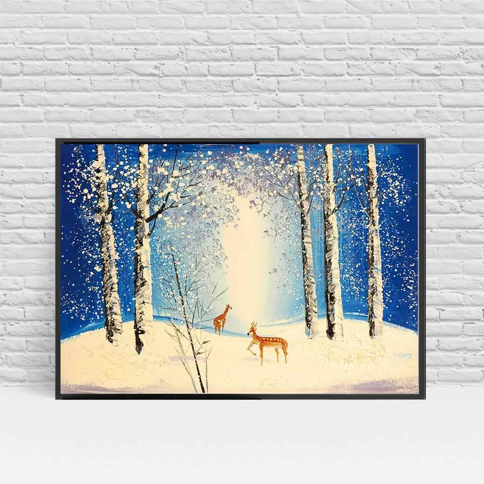 الحديث الشمالي الأيائل غابة قماش الفن hd الطباعة المشارك جدار صور للمنزل الديكور اللوحة بدون إطار