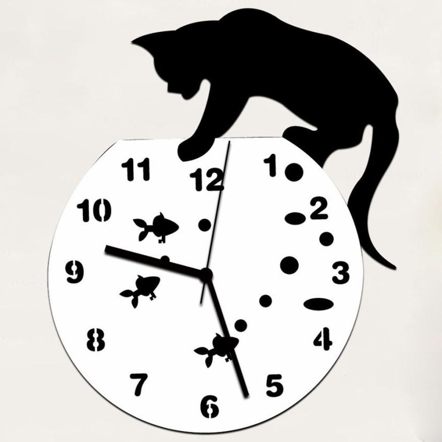 JY 19 Mosunx Business 2016 Hot Selling Naughty kočičí akrylové hodiny Nástěnné hodiny Moderní design domácí Dekorativní nástěnné nálepky