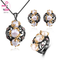 ZHE FAN Freshwater Pearls Jewelry Set 2 Tone Black Gold Color Vintage Simulated Pearl Necklace Earrings Ring Sets For Women