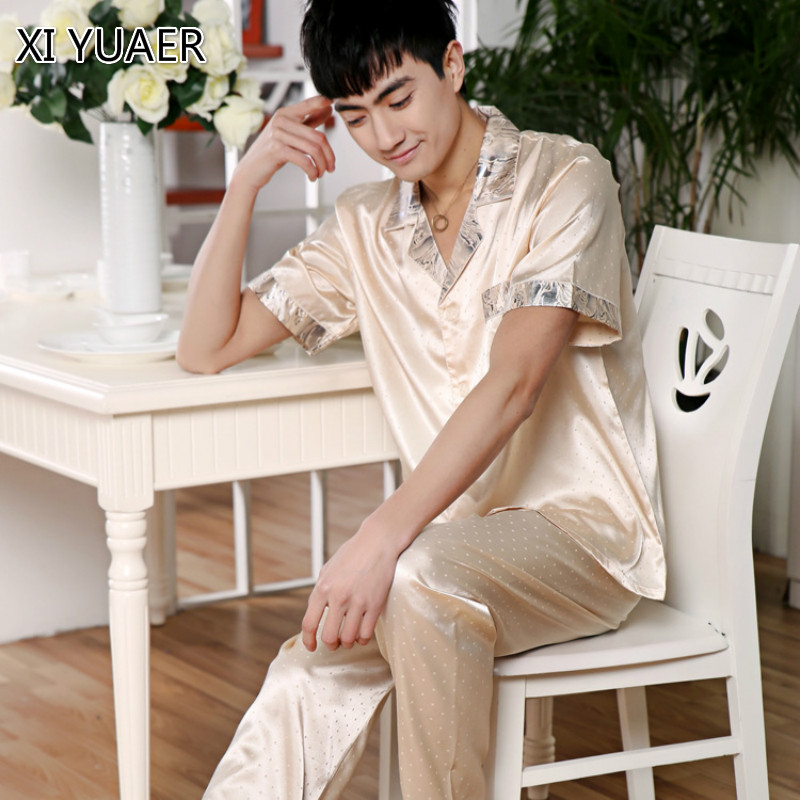 XI YUAER Men's Stain Silk Pajama Set Men Pajamas Silk Sleepwear Men Sexy Modern Style Soft Cozy Satin Nightgown Men Autumn XY006