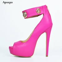Apoepo Fashion Peep Toe Platform Pumps 2018 Sexy Ankle Strap High Heels Rose Pink Leather Thin