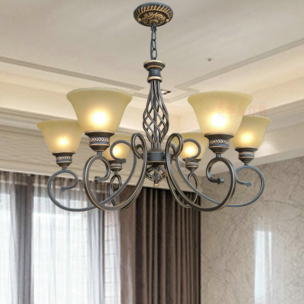 110V/220v E27 Wrought Iron Chandelier Suspension Antique Led Vintage Home Lighting Room Chandeliers for Kitchen