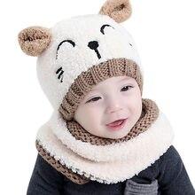 2852318c3d8 TELOTUNY bébé chapeaux bonnet hiver 1-3 ans casquettes garçons filles  enfants chapeau + écharpe