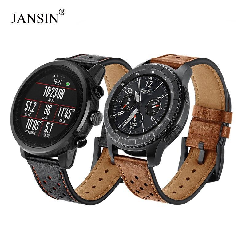 22mm correa de reloj para Samsung Gear S3 frontera/s3 clásico/galaxy watch 46mm/Xiaomi Huami Amazfit ritmo de banda de reloj de cuero genuino