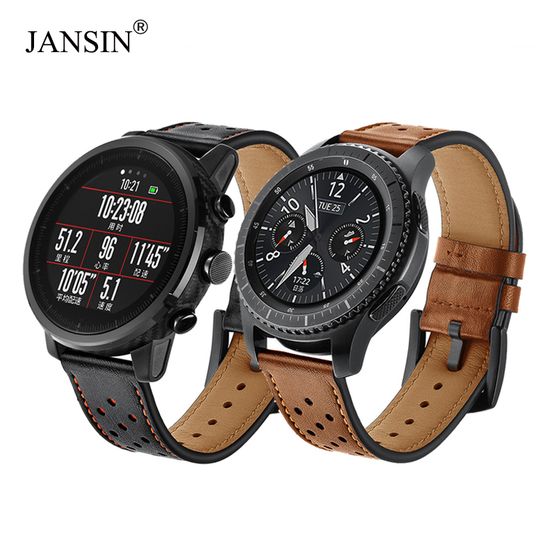22mm watch Strap for Samsung Gear S3 Frontier/s3 Classic/galaxy watch 46mm/Xiaomi Huami Amazfit Pace Genuine Leather Watch band