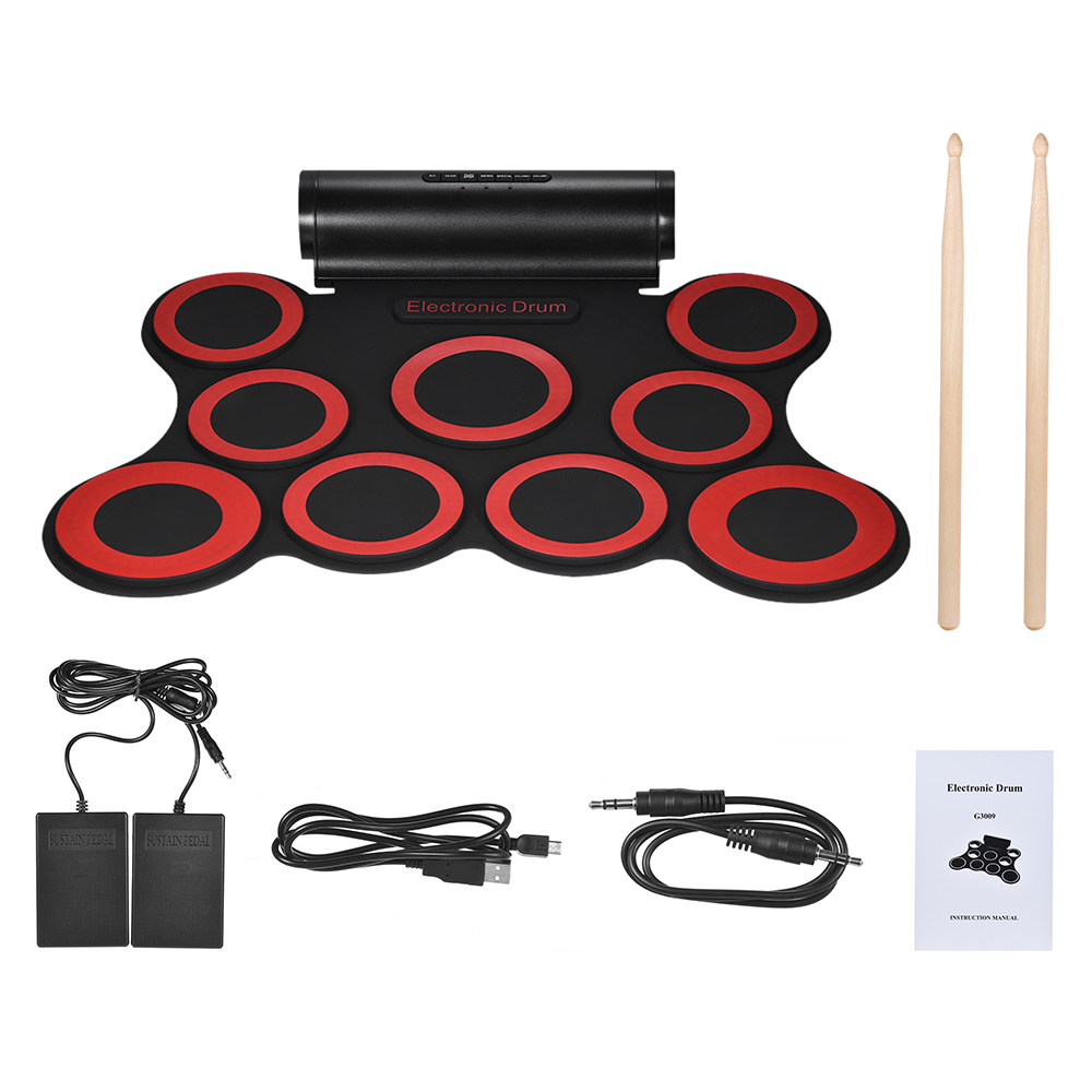 Stereo Digital Electronic Drum Portable Roll Up Drum Kit 9 Silicon Drum Pads Built in Double