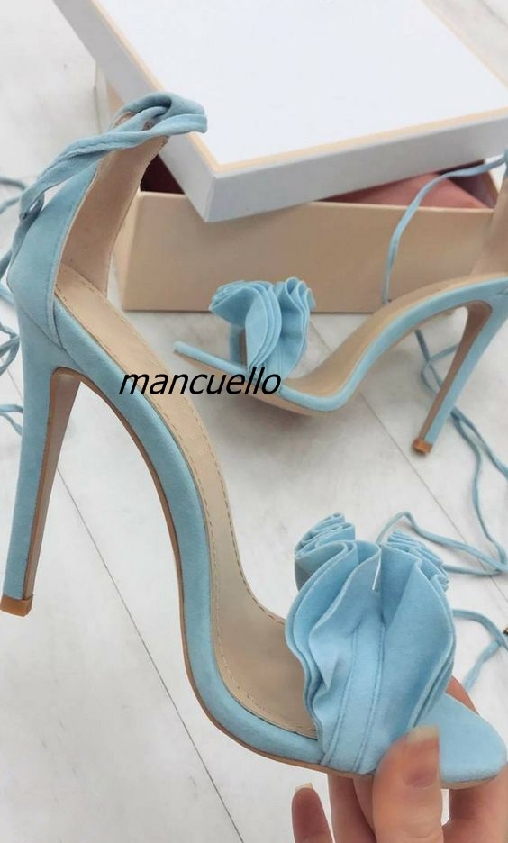 цены Delicate Ruffles Thin Heel Lace Up Sandals Women Classy Falbala Decoration Open Toe Stiletto Heel Dress Sandals Sweet Date Shoes