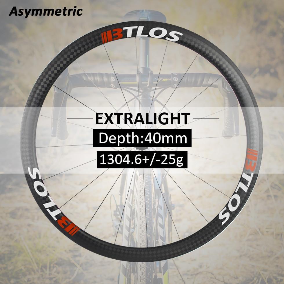 700c wheelset Asymmetric 40mm depth  Lightest wheel 1304g Warranty 2 years carbon road wheels - WRC-40AL