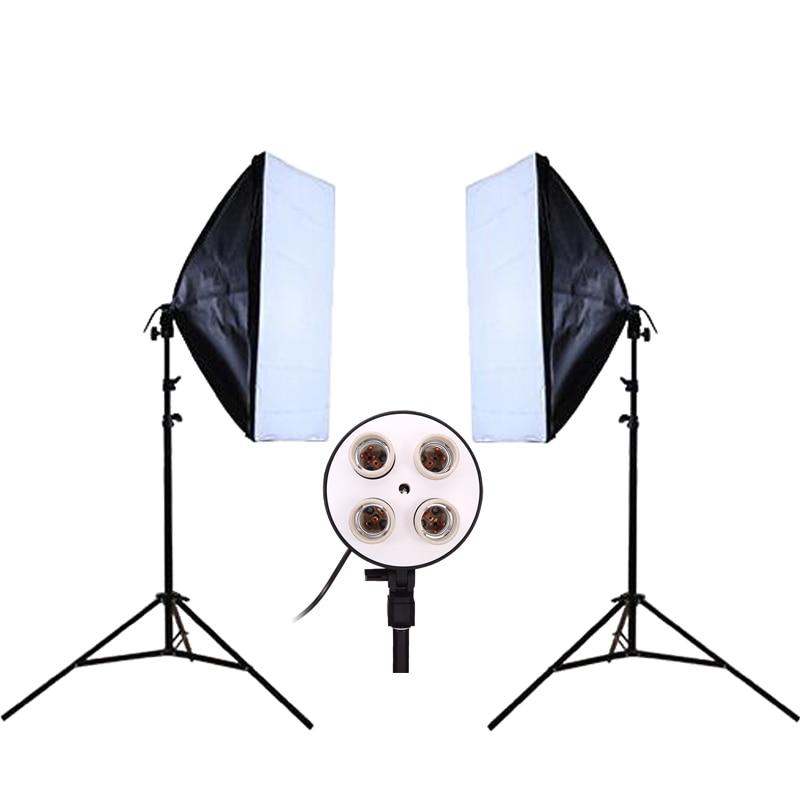 bilder für DHL oder EMS Foto Studio Kit Fotografie Beleuchtung 2 STÜCKE * 4 Lampenfassung + 2 STÜCKE * 50*70 CM Softbox + 2 STÜCKE * 2 mt Licht Stehen