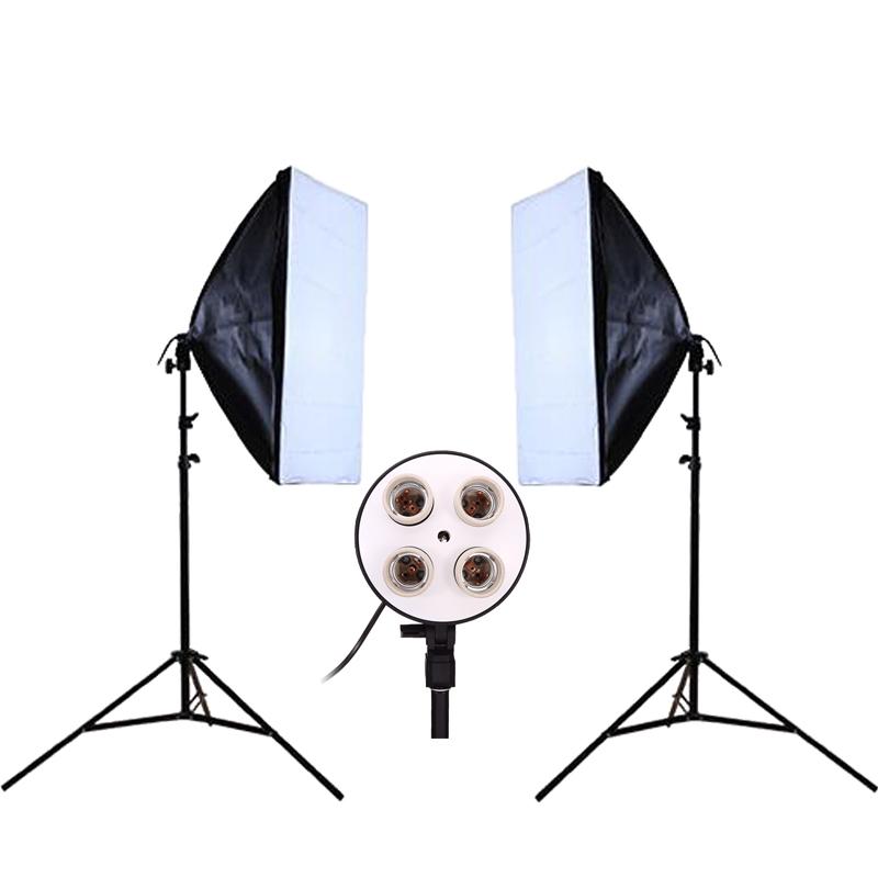 Prix pour DHL ou EMS Photo Studio Kit Photographie Éclairage 2 PCS * 4 Socket Titulaire de La Lampe + 2 PCS * 50*70 CM Softbox + 2 PCS * 2 m Lumière Stand