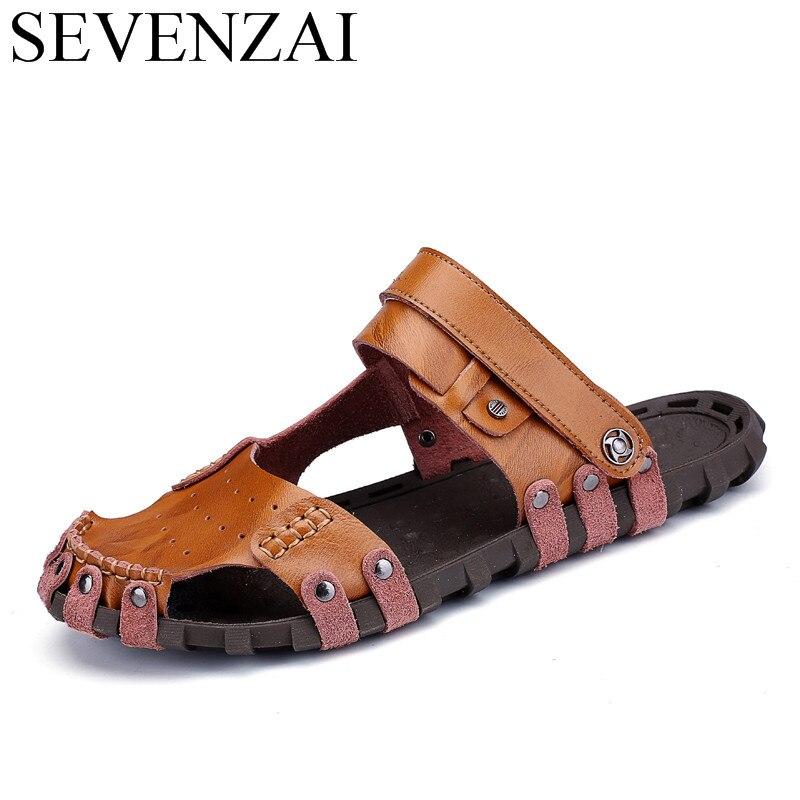 male breathable japanese mens sandals genuine leather flats summer designer beach fashion designer casual slides shoes for men